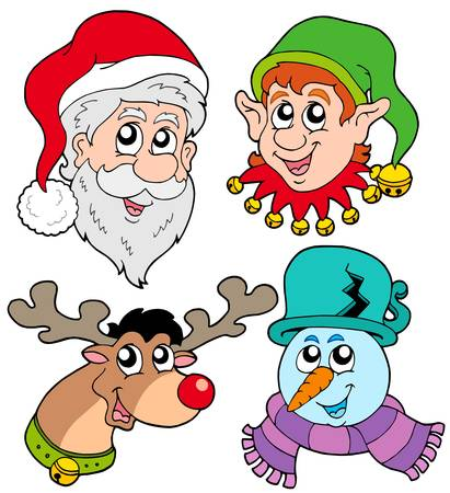 Christmas faces collection 2 - vector illustration. Vector
