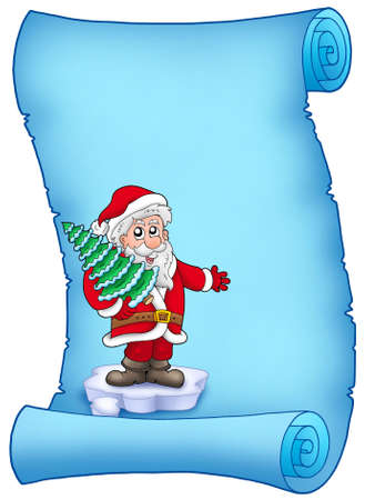 Blue parchment with Santa Claus 4 - color illustration. illustration