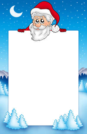 lurk: Frame with lurking Santa Claus 1 - color illustration.