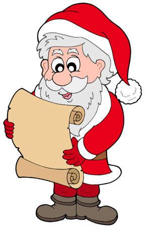 Santa Claus reading parchment - vector illustration. Vector