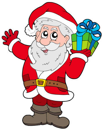 Santa Claus with Christmas gift - vector illustration. Vector