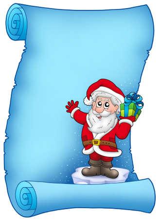 Blue parchment with Santa Claus 5 - color illustration. illustration