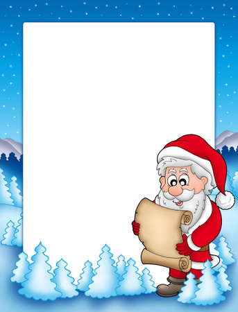 Frame with Santa and parchment - color illustration. illustration