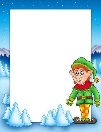 Christmas frame with elf - color illustration. illustration