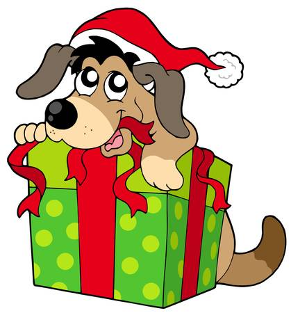 give a gift: Cute dog in Santas hat - vector illustration.