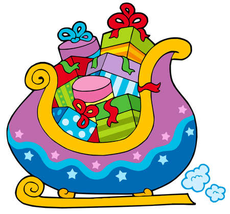 packets: Christmas sledge full of gifts - vector illustration.