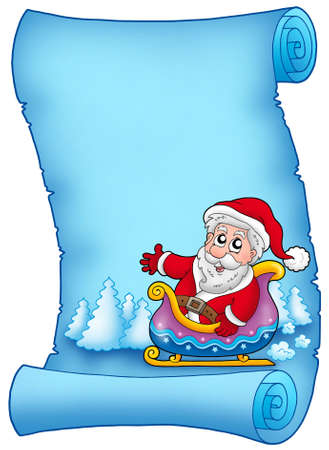 Blue parchment with Santa on sledge - color illustration. illustration