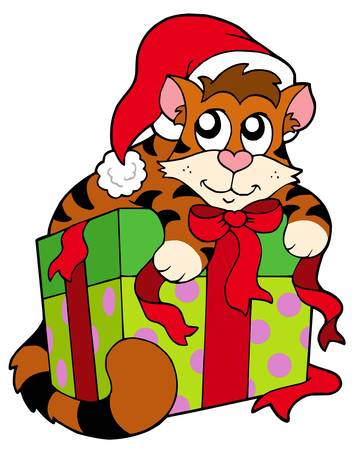 pack animal: Cute cat in Santas hat - illustration.