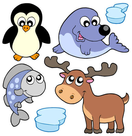 Cute winter animals - illustration. Stock Vector - 5665244