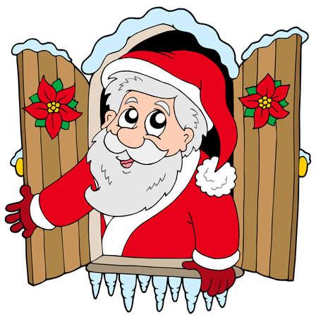 Finestra di Natale con Santa Claus - illustrazione.