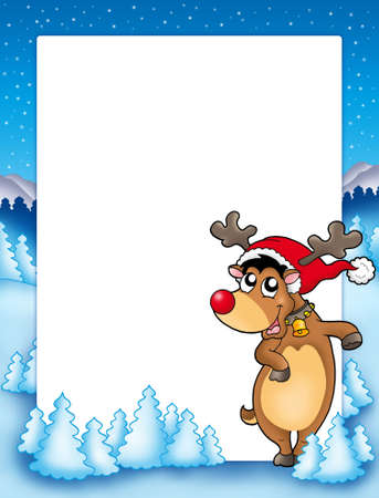 nose ring: Christmas frame with cute reindeer - color illustration.