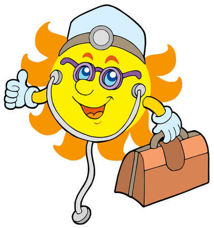 Sun doctor on white background - color illustration. illustration