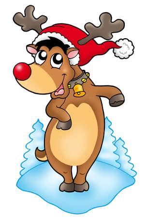 christmas reindeer: Cute Christmas reindeer - color illustration.