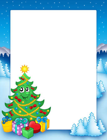 conifer: Christmas frame with tree 1 - color illustration. Stock Photo