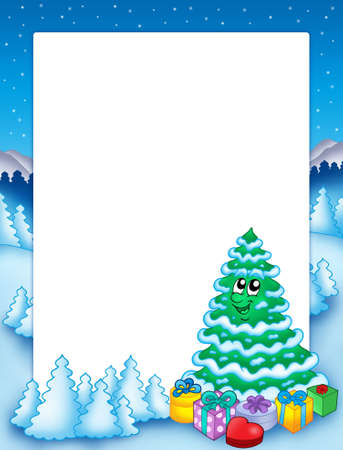 cold pack: Christmas frame with tree 2 - color illustration.