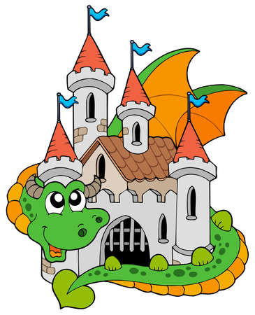 dragon cartoon: Dragon with old castle - illustration. Illustration