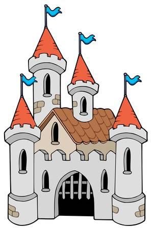 castello medievale: Antico castello su sfondo bianco - illustrazione.