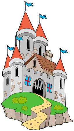 hoog gras: Spectaculaire middeleeuwse kasteel op de heuvel - illustratie.