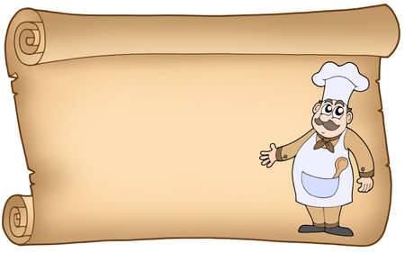 scroll work: Old parchment with chef - color illustration. Stock Photo