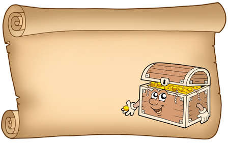 Old parchment with treasure chest - color illustration. illustration