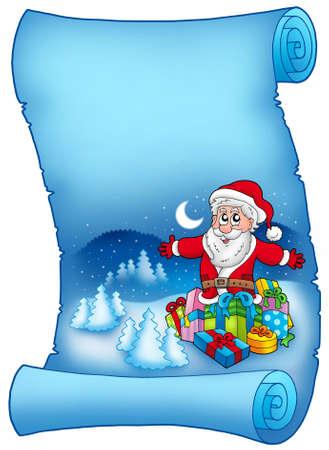 Blue parchment with Santa Claus 6 - color illustration. illustration