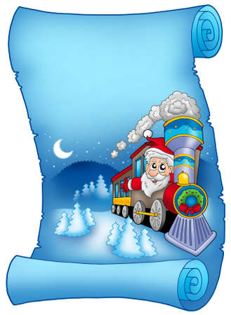 clipart chimney: Blue parchment with Santa in train - color illustration.