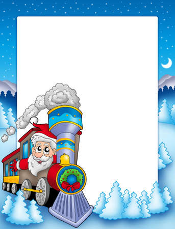 Frame with Santa Claus and train - color illustration. illustration