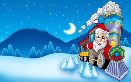 Landscape with Santa Claus 7 - color illustration. illustration