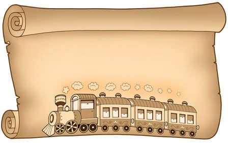 Antiguo pergamino con tren - ilustraci�n de color.  Foto de archivo - 5682302