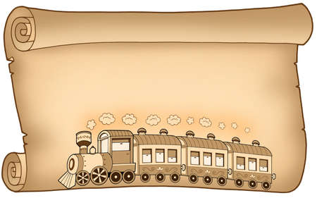 Old parchment with train - color illustration. illustration