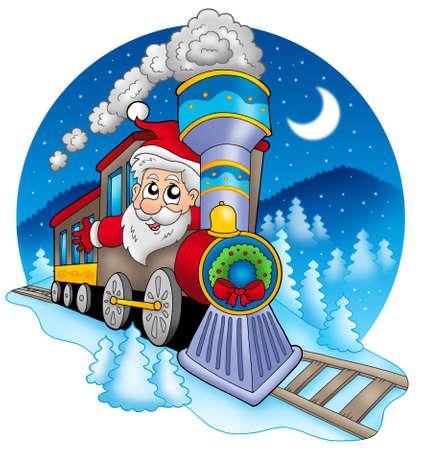 tren caricatura: Santa Claus en tren - ilustración en color. Foto de archivo