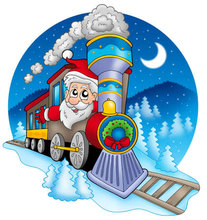 fast train: Santa Claus in train - color illustration.