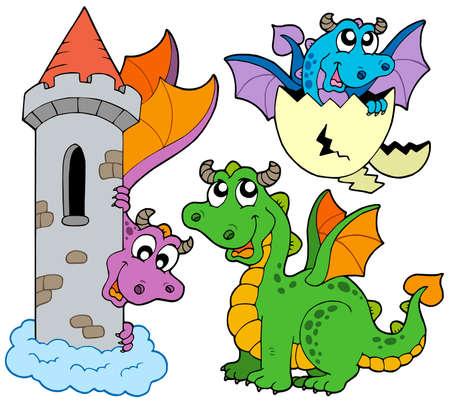 lurk: Insieme di draghi carino - illustrazione vettoriale. Vettoriali