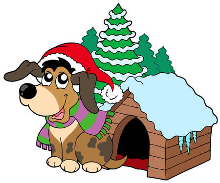 cute christmas: Cute Christmas dog - vector illustration.