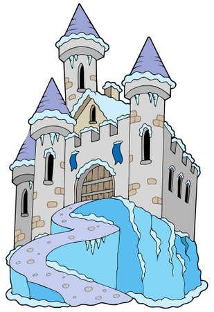 Gefrorene Burg auf weißem Hintergrund - Vektor-Illustration.