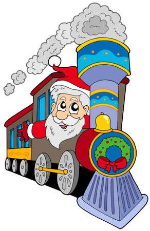 clipart chimney: Santa Claus on train - vector illustration.