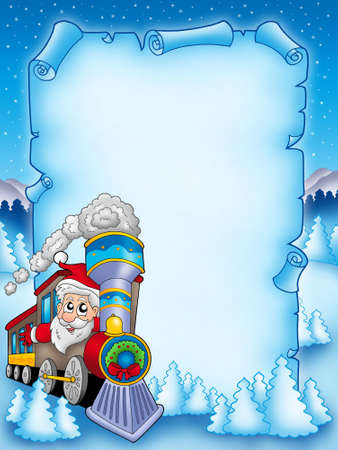 steam train: Christmas parchment with Santa Claus 2 - color illustration.
