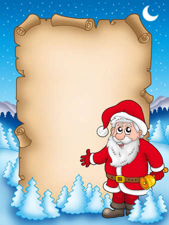 Christmas parchment with Santa Claus 4 - color illustration. illustration