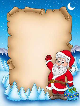 letter from santa: Christmas parchment with Santa Claus 5 - color illustration.