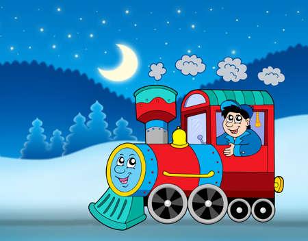 tren caricatura: De locomotora en el paisaje de invierno - ilustración en color.