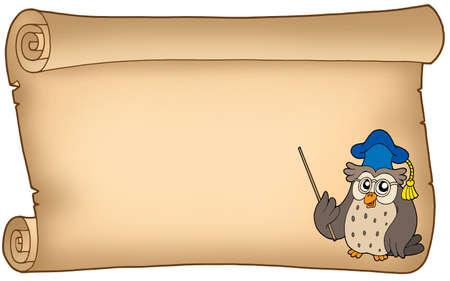 Old parchment with owl teacher - color illustration.