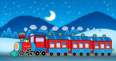 steam machine: Train in winter landscape - color illustration. Stock Photo