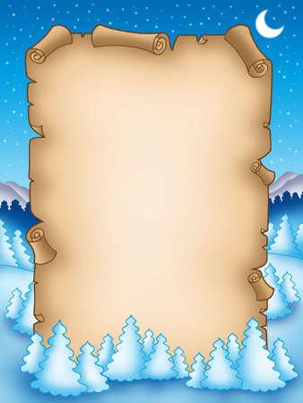 Winter parchment with snowy landscape 2 - color illustration. illustration
