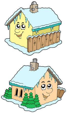 clipart chimney: Cartoon winter houses - vector illustration. Illustration
