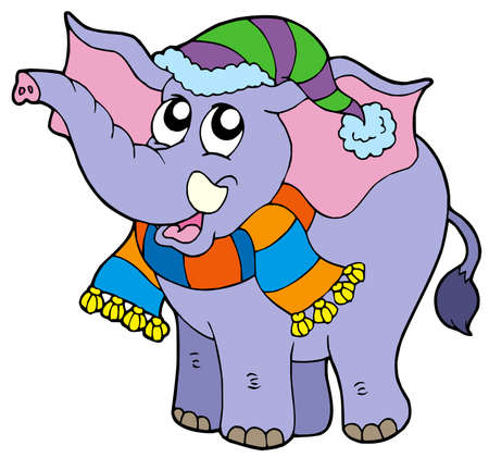 Elephant in winter clothes - vector illustration. Stock Vector - 5723326