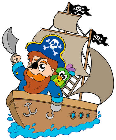 Pirate sailing on ship - vector illustration. Stock Vector - 5723331