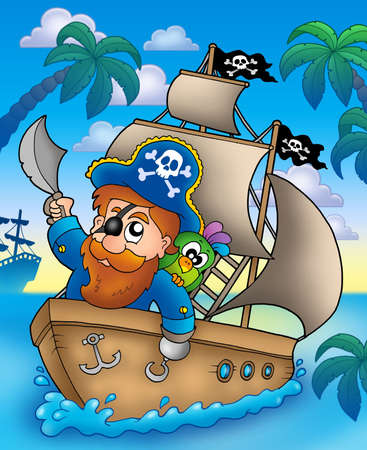 pirates flag design: Cartoon pirate sailing on ship - color illustration.