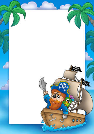 Frame with pirate sailing on ship - color illustration. illustration