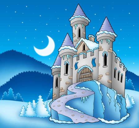 Castillo congelado en el paisaje de invierno - ilustración en color.