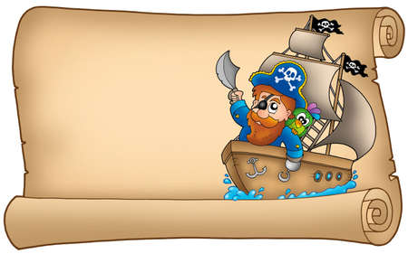 pirates flag design: Old parchment with pirate sailing on ship - color illustration.